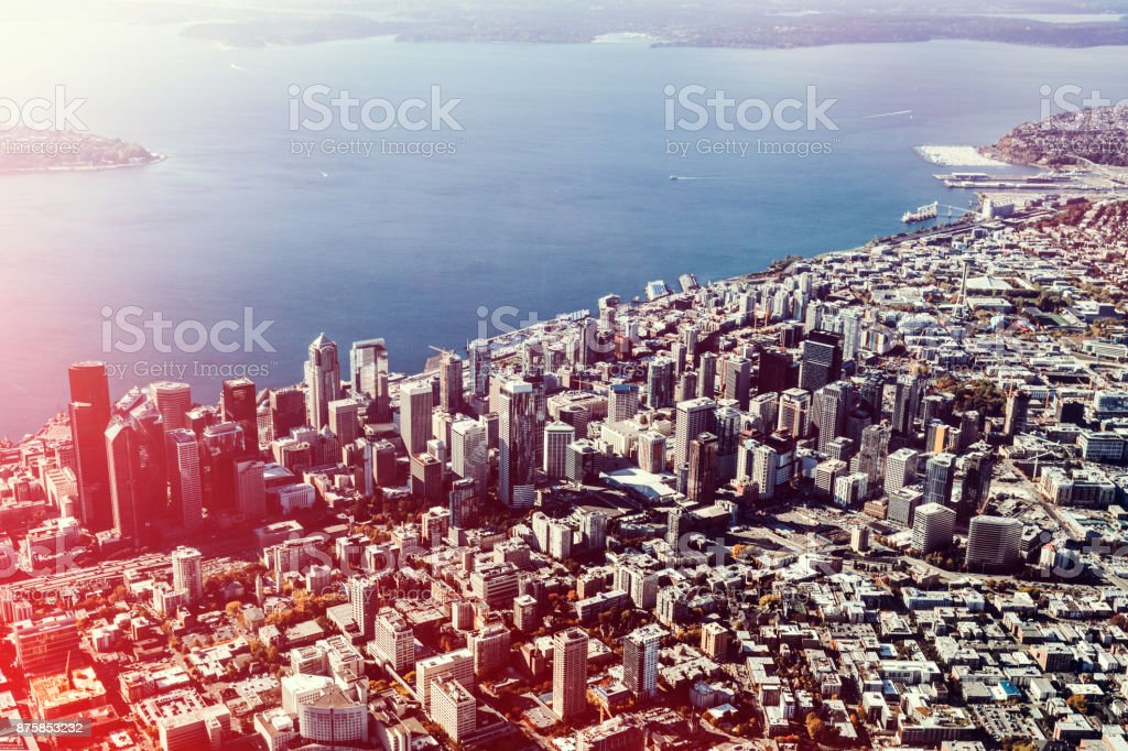 Seattle Washington Cityscape From the Air stock photo