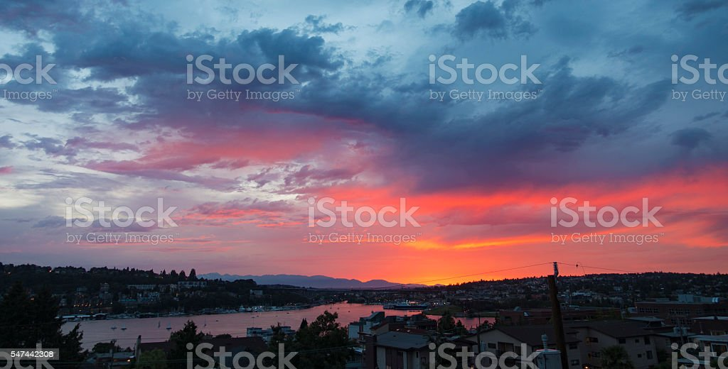Seattle, Washington Downtown Skyline Skies Lake Union Vibrant Orange Sunset stock photo