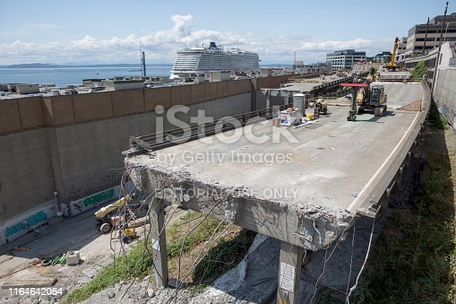 Highway 99 in downtown Seattle is being demolished and replaced by a new underground tunnel.  The Pike Place Market will be connected with the waterfront once the freeway is removed.