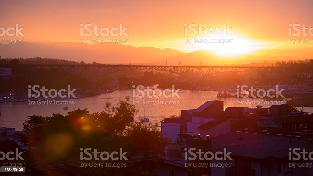 Seattle, Washington Lake Union Fire Orange Sunset stock photo