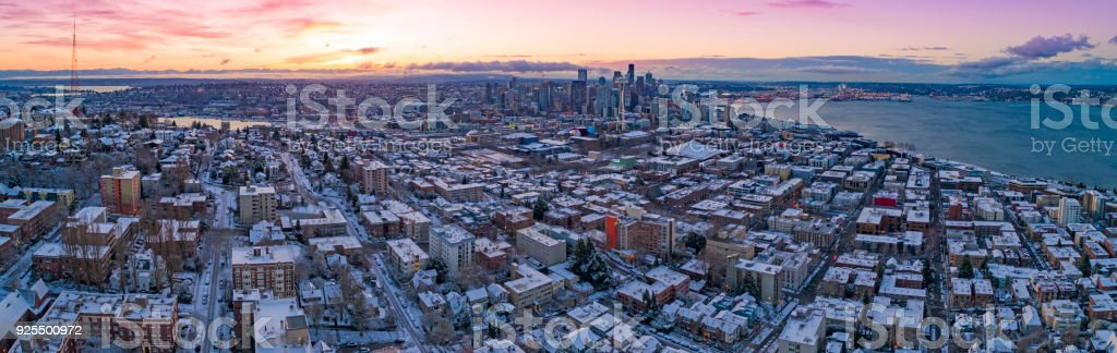 Seattle Washington Skyline Colorful Skies Aerial View Panoramic Snowy Winter Morning Sunrise Dawn stock photo