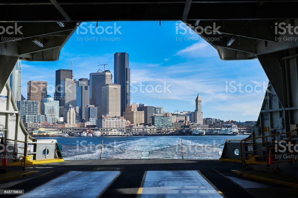 Seattle Washington Skyline from Washington State Ferry stock photo