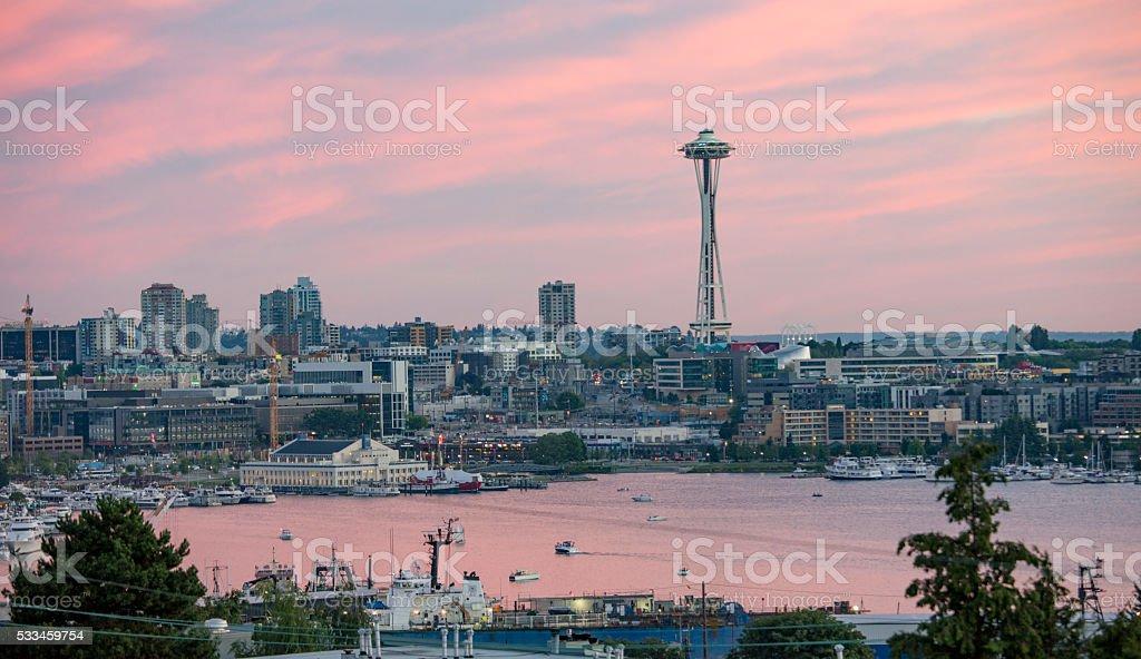 Seattle, Washington South Lake Union Pink Cloudy Sunset stock photo