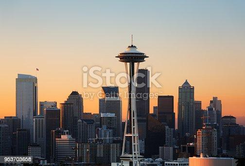 Seattle, Washington, / USA - 08/30/2013, Seattle downtown skyline at sunset including the iconic Space Needle