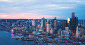 Seattle Washington USA Downtown Waterfront Aerial Panoramic Shot Pink Skies Sunset