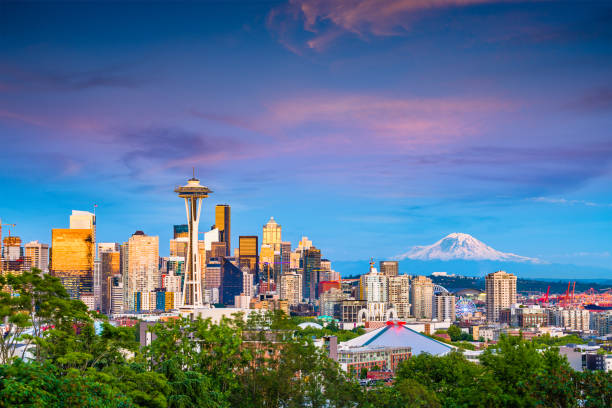 Seattle, Washington, USA Skyline Seattle, Washington, USA downtown skyline at night with Mt. Rainier. washington state stock pictures, royalty-free photos & images