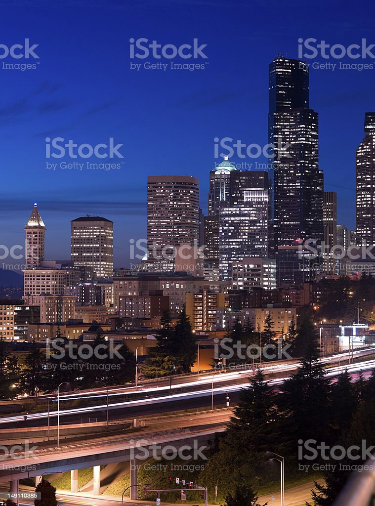 Seattle Washington Vertical Smith Tower Buildings and Interstate Highway stock photo