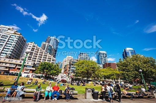 Seattle, Washington, USA - People enjoying sunny weather at Victor Steinbrueck Park