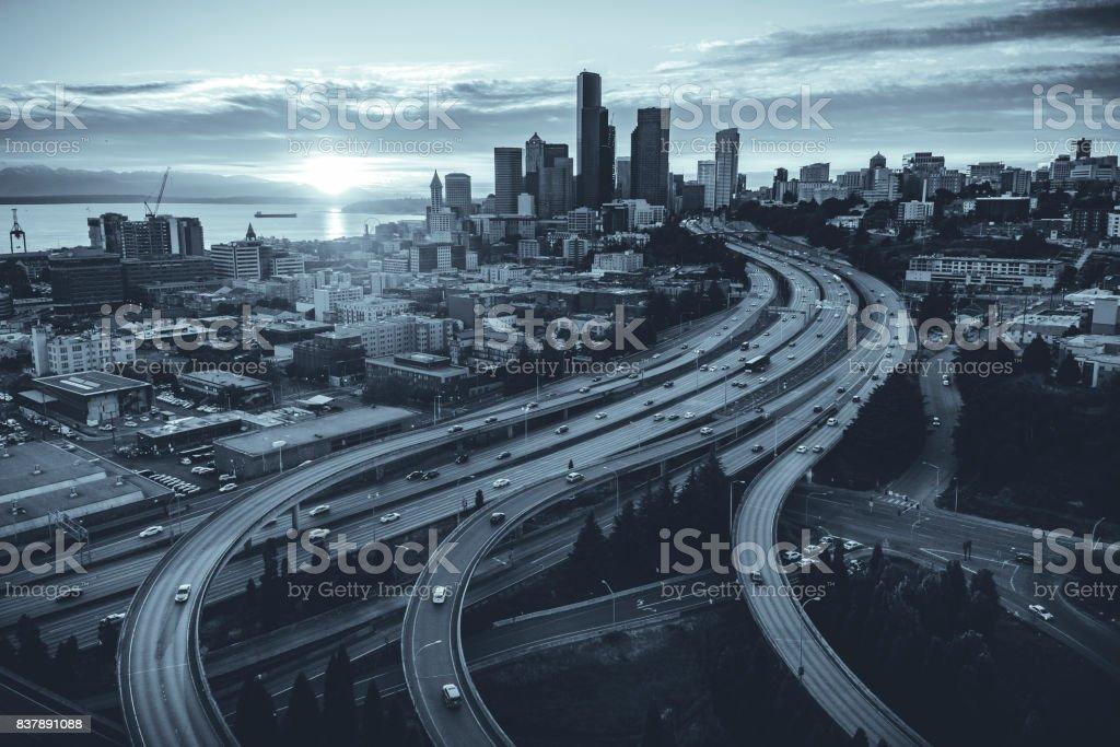 Seattle, Washington Waterfront City Skyline with Intersecting Freeways stock photo