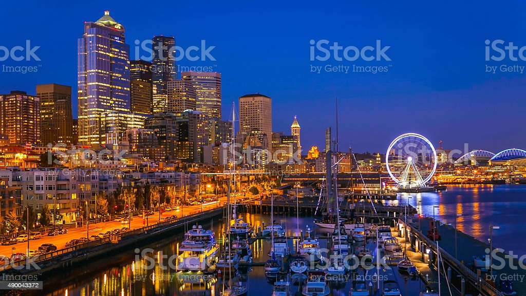 Seattle Waterfront After Sunset stock photo