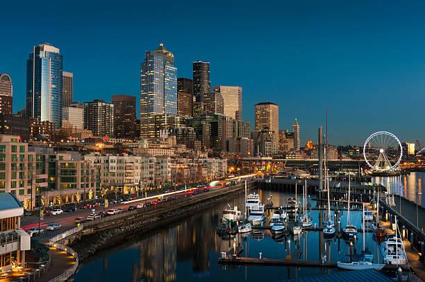 Seattle Waterfront at Sunset stock photo