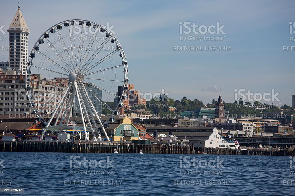 Seattle Waterfront District features The Great Wheel stock photo