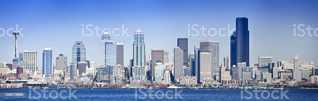 Seattle waterfront panorama royalty-free stock photo