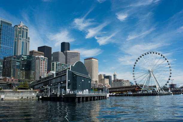 Seattle Waterfront One of the most picturesque skylines in the US promenade stock pictures, royalty-free photos & images
