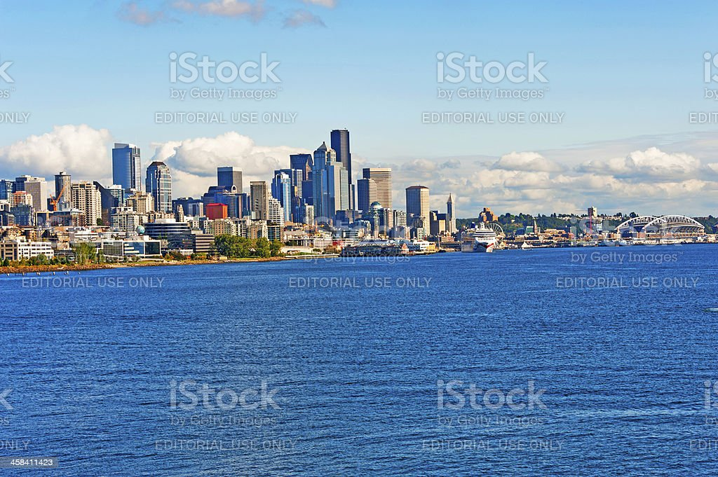 Seattle waterfront with Cruise Ship royalty-free stock photo