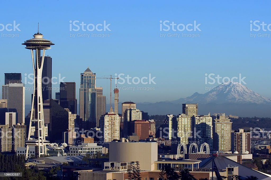 Seattle with Rainier before sunset stock photo