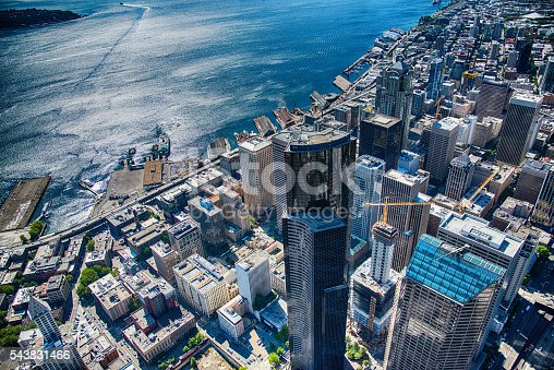 An aerial view of downtown Seattle's financial district and waterfront shot from an altitude of about 600 feet.
