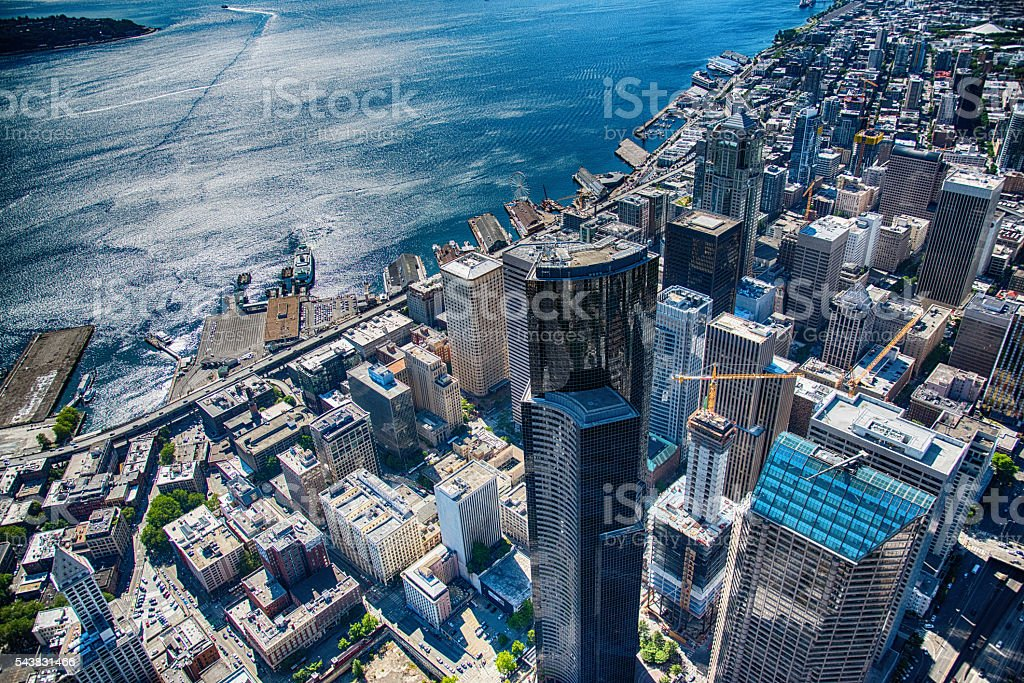 Seattle's Dowtown and Waterfront From the Air stock photo