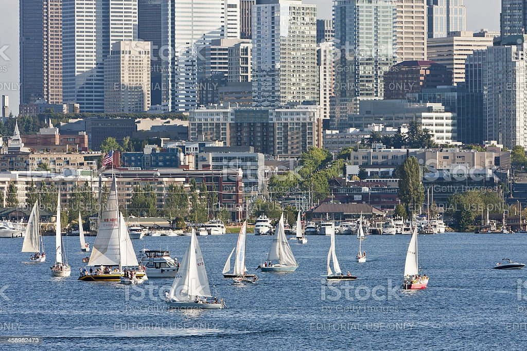 Seattle's Duck Dodge Sailboat Races stock photo