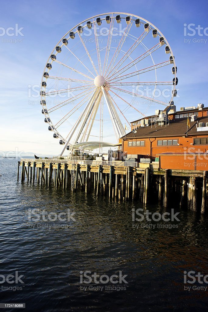 Seattle's Ferris Wheel on Pier stock photo