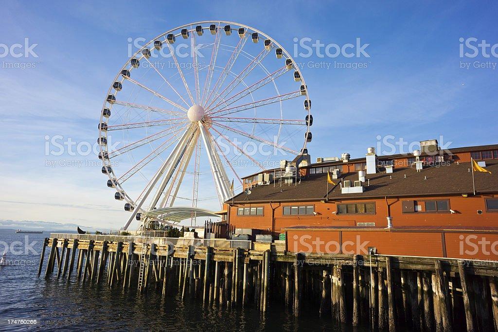 Seattle's Ferris Wheel on Pier royalty-free stock photo