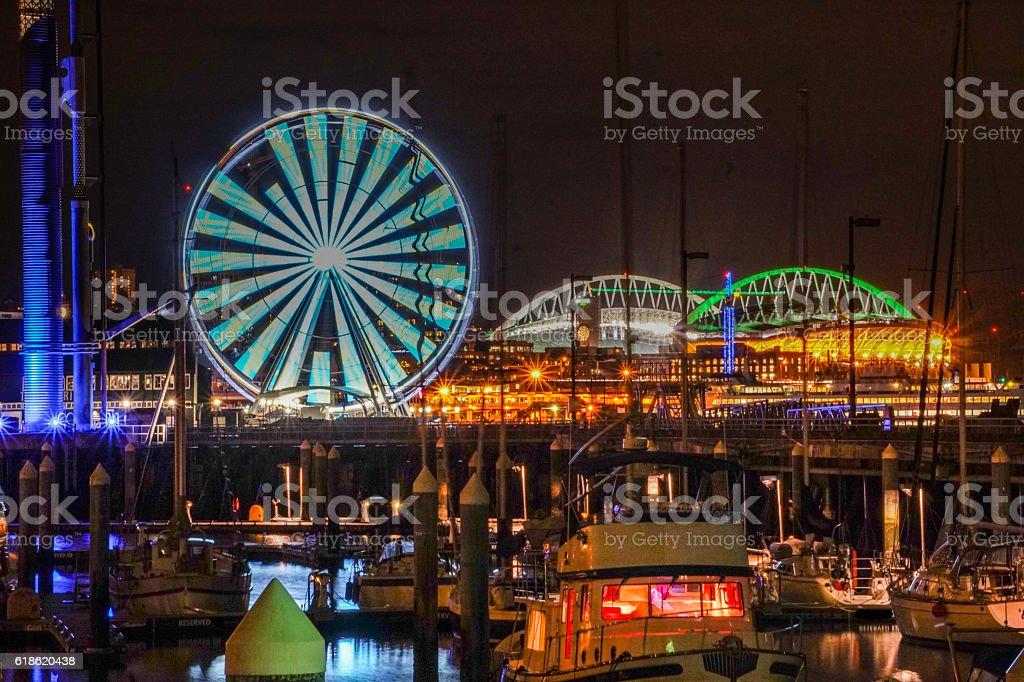 Seattle's harbor at night stock photo
