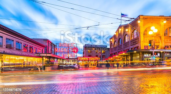 Seattle,Washington,usa. 02/06/17: Pike place market with reflection on the ground  at night..
