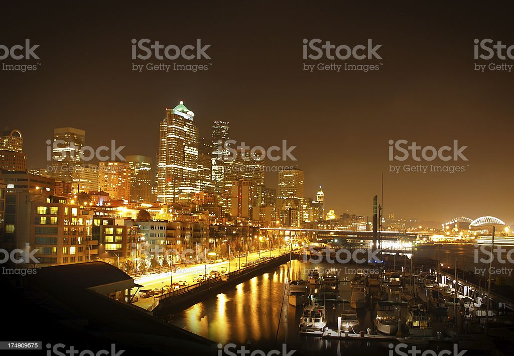 Seatttle Waterfront at  NIght royalty-free stock photo