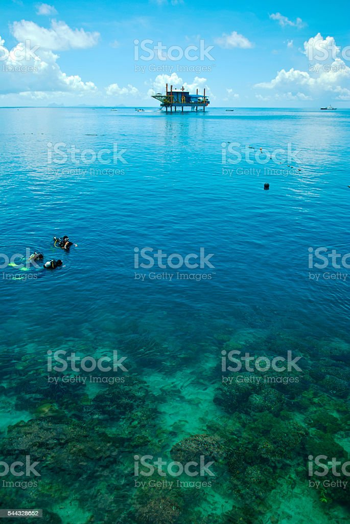 Seaventure Rig from Mabul Island stock photo