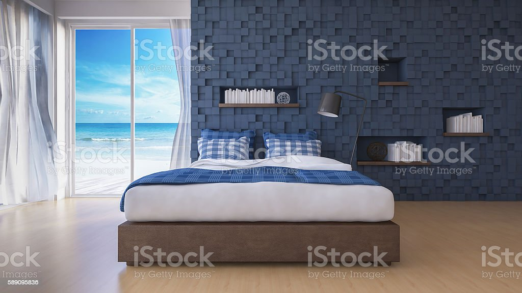 3D seaview bedroom stock photo
