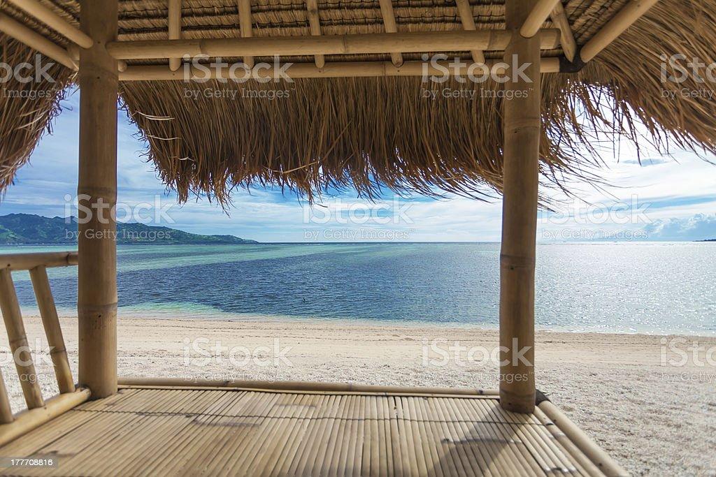 Seaview from bamboo hut stock photo