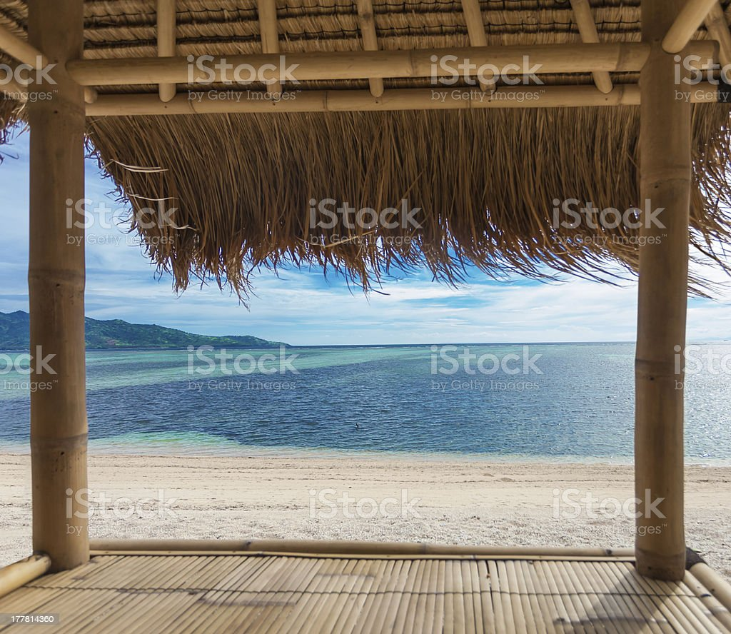 Seaview from bamboo hut royalty-free stock photo