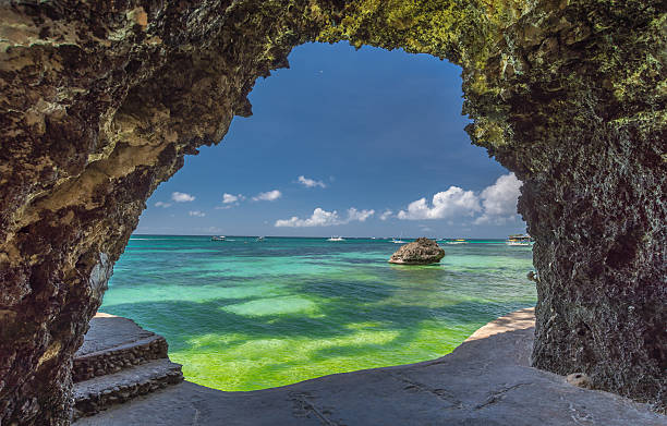 Seaview from the cave at Boracay stock photo