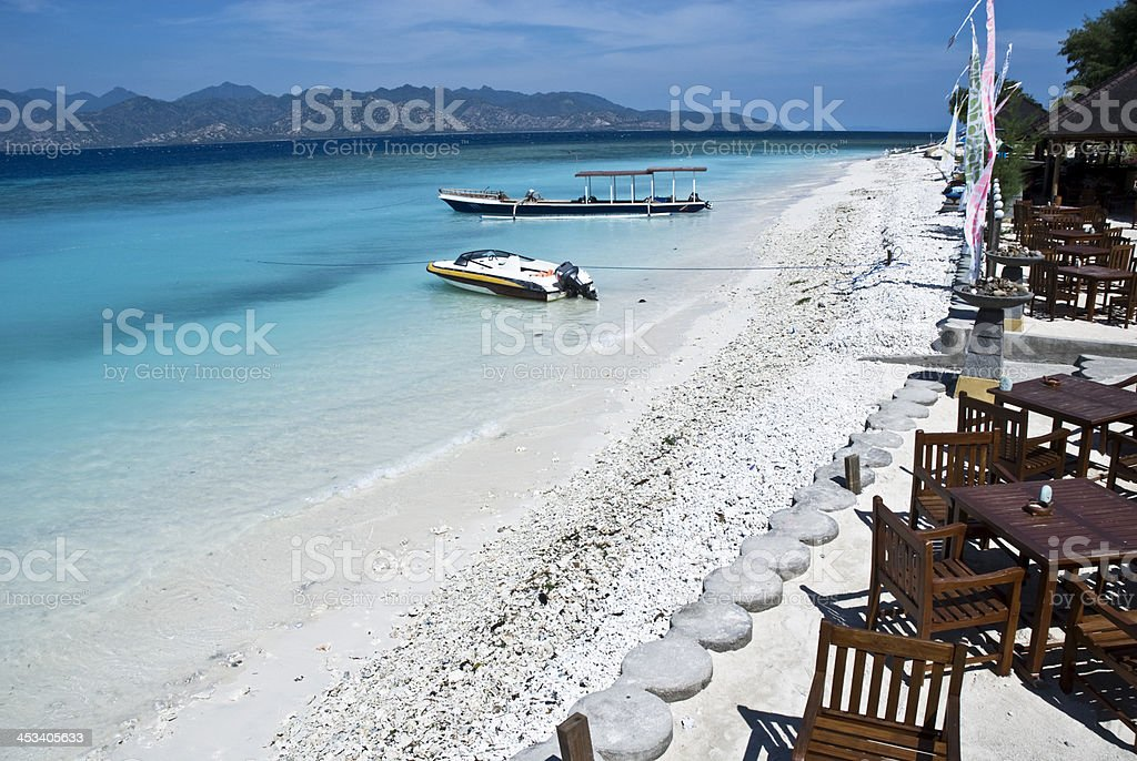Sea-view restaurant in gili islands,indonesia stock photo