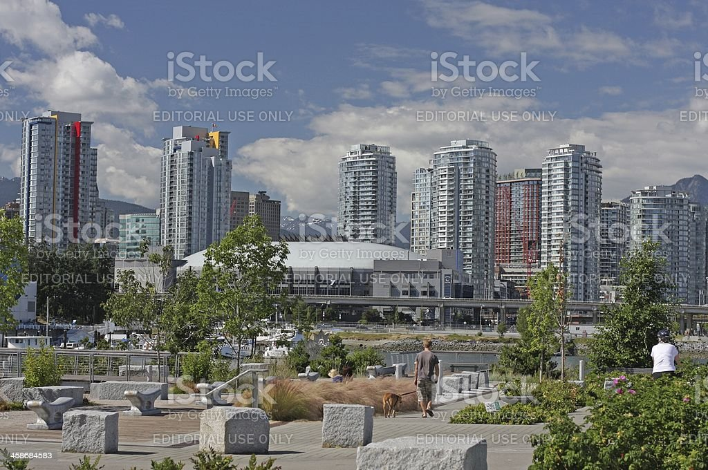 Seawall in Southeast False Creek, Vancouver, British Columbia, Summer royalty-free stock photo