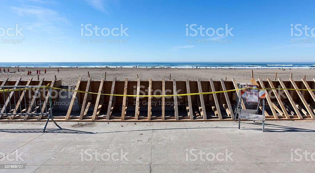 Seawall Repair stock photo