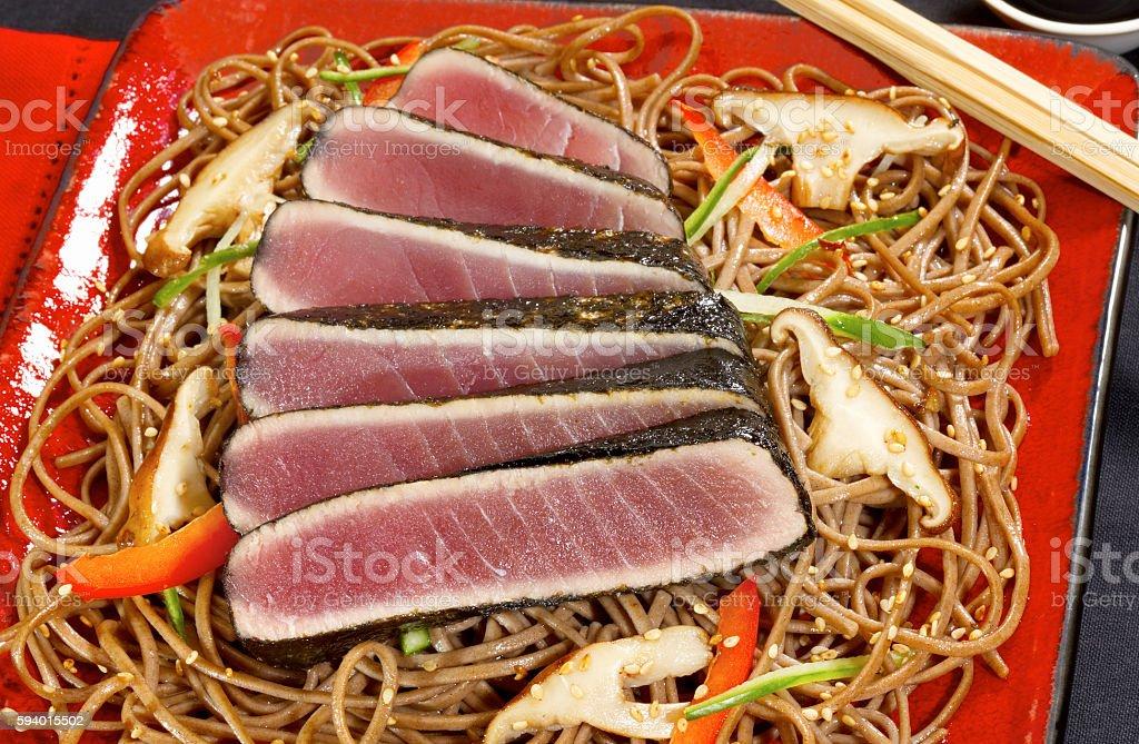 Seaweed seared tuna on lo mein stock photo