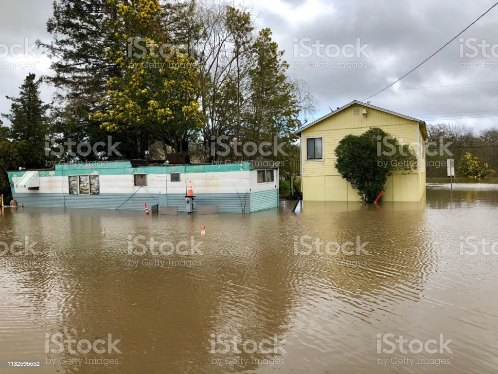Sebastopol flooding 2/27/19 stock photo