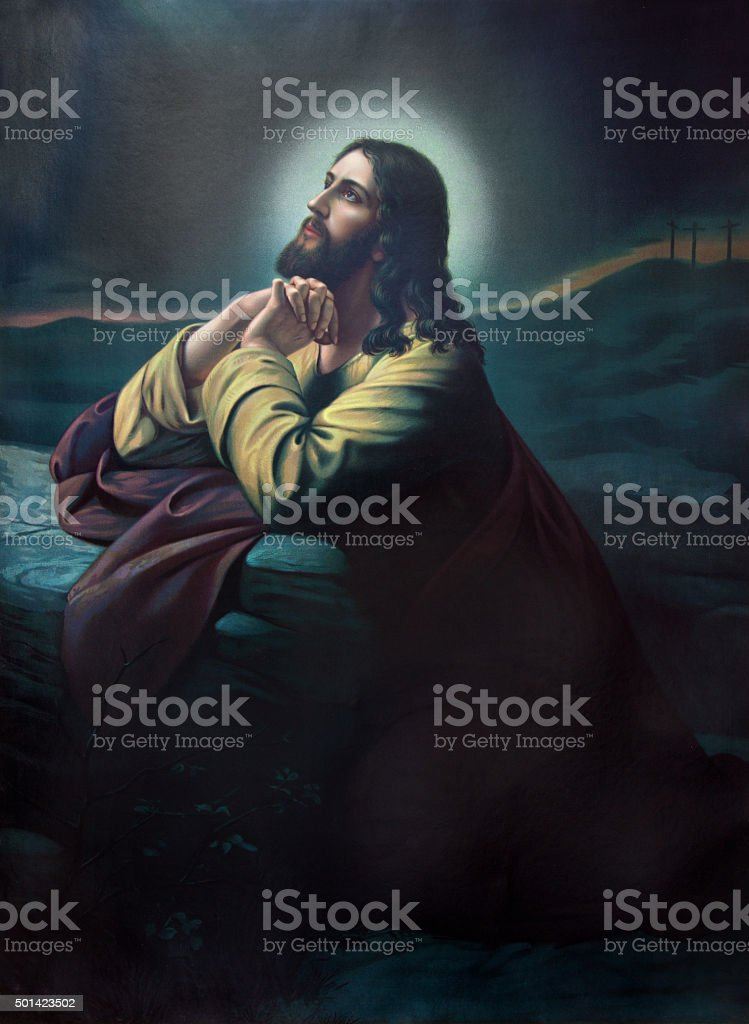 Sebechleby - The prayer of Jesus in the Gethsemane stock photo