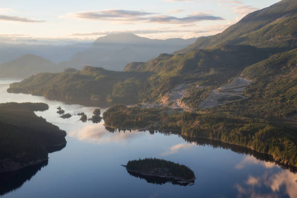 sechelt inlet aerial - british columbia stock pictures, royalty-free photos & images