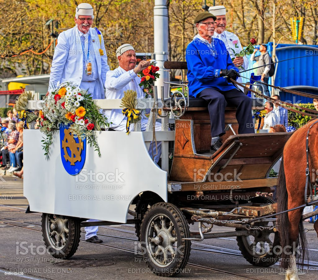 participants of the Sechselauten parade passing along Bahnhofstrasse...