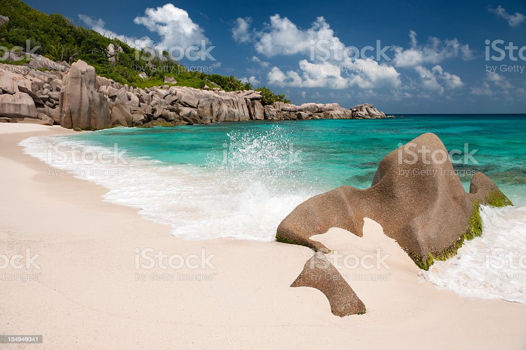 Secluded Bay, Anse Marron, Seychelles (XXXL) stock photo
