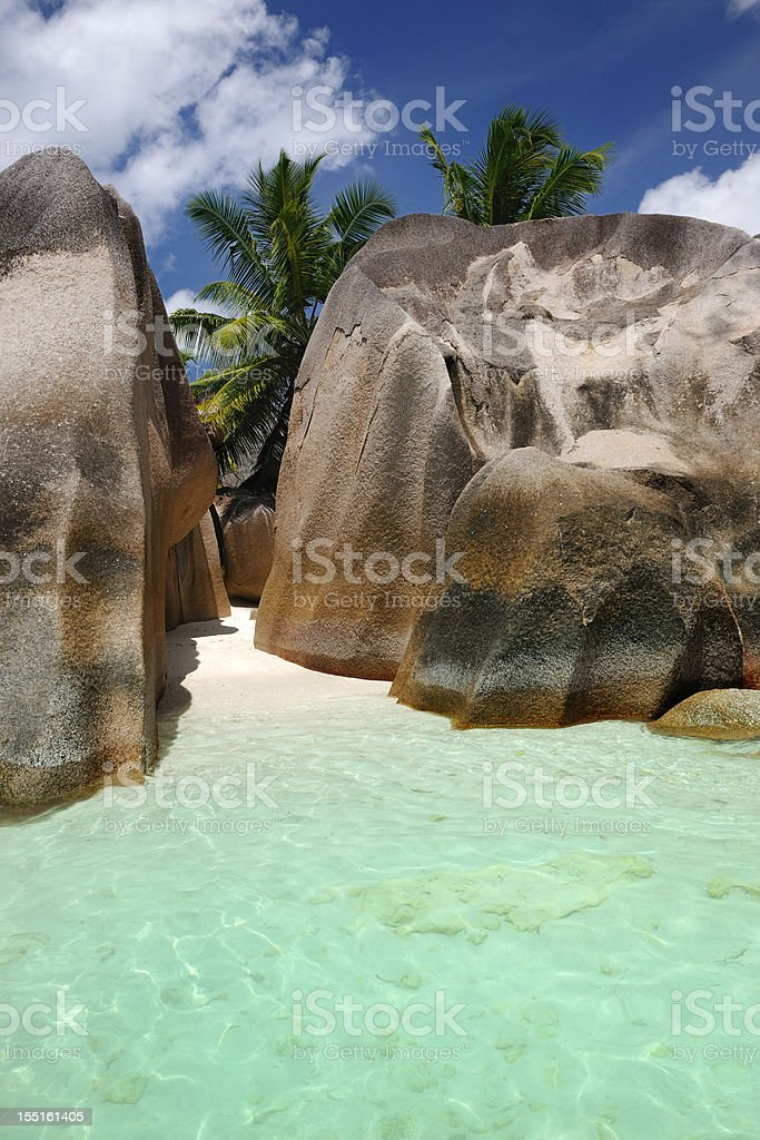 Secluded Beach, Anse Source D'Argent, Seychelles (XXXL) stock photo