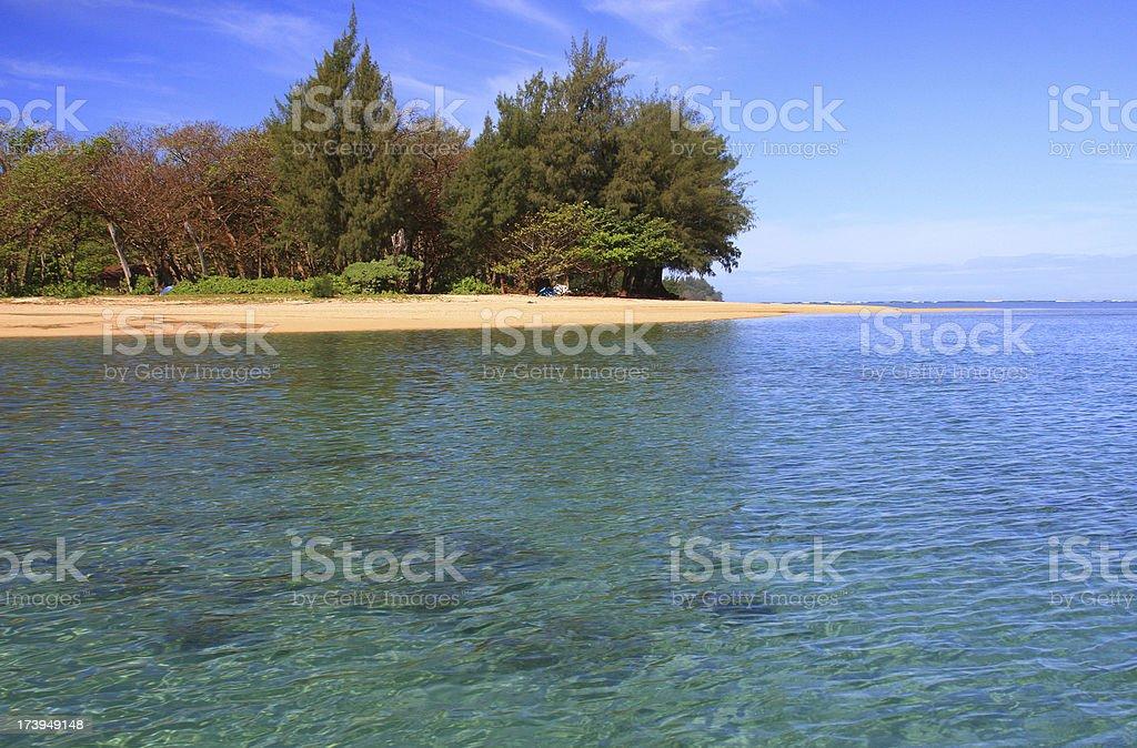 Secluded beach on Kauai Hawaii stock photo