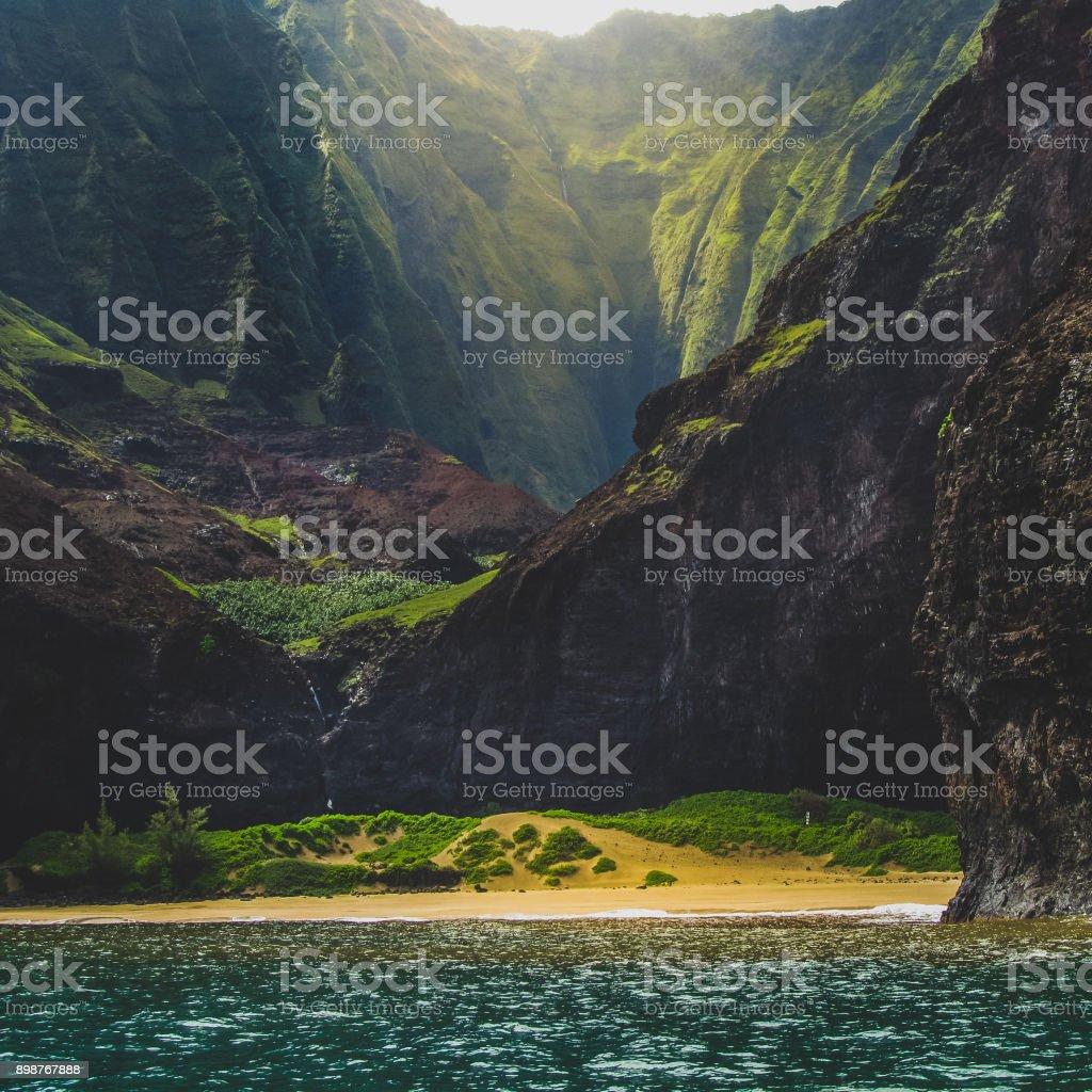 Secluded Kalalau Beach stock photo