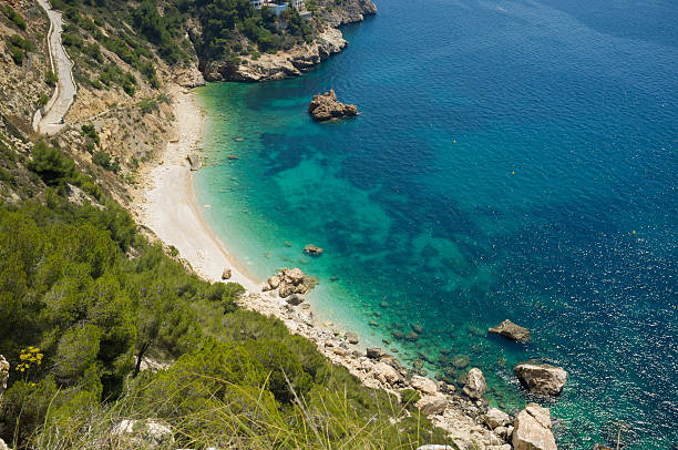 Secluded Mediterranean beach stock photo