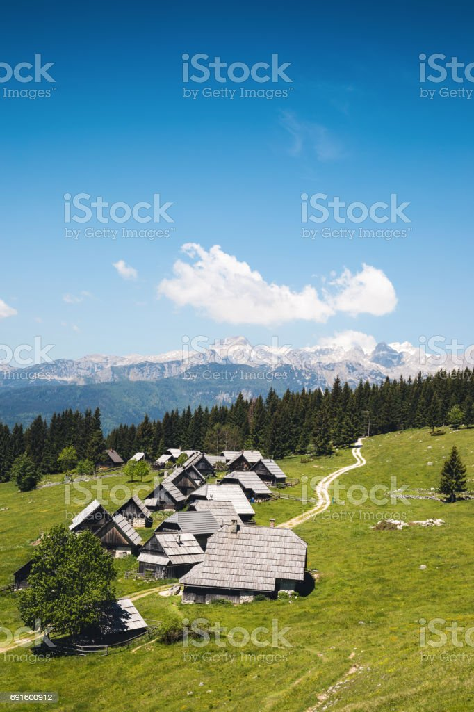 Secluded Mountain Village In Slovenia stock photo
