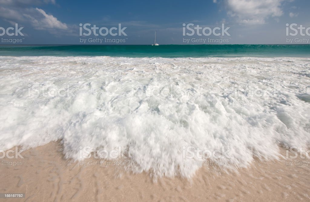 Secluded Tropical Paradise Beach, Wide Angle Shore Break royalty-free stock photo
