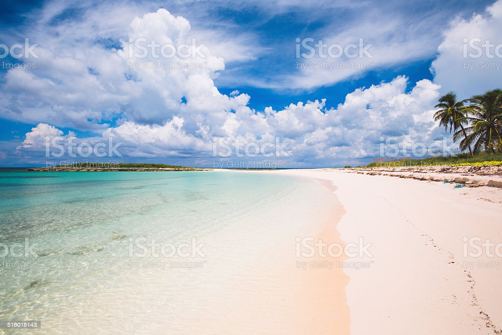 Secluded White Sand Beach stock photo