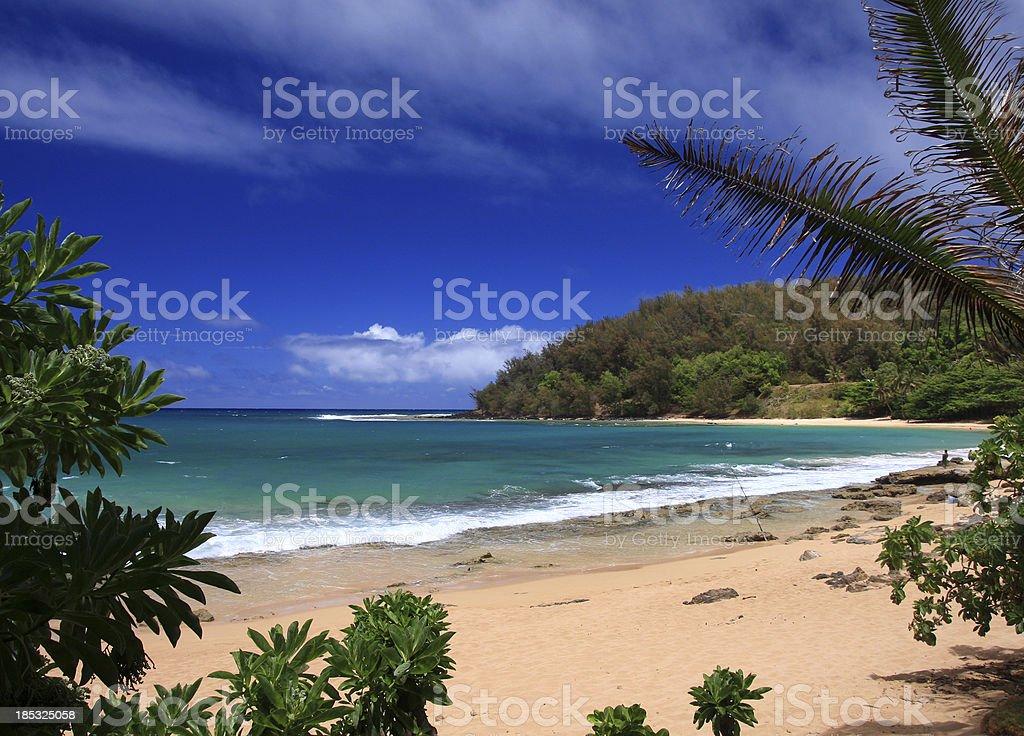 Secluded white sand beach turquoise bay on Kauai Hawaii stock photo